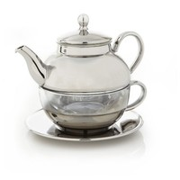 Teavana Tea For One Tea Set, silver & glass