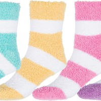 Sakkas Super Soft Anti-Slip Fuzzy Ankle Socks Value Assorted 6-Pack
