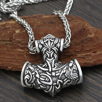 Men Norse Viking Super L  Amulet Large Thor Hammer Mjolnir Odin Wolf Amulet Pendant Necklace with Gift Bag