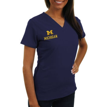 Michigan Wolverines New Balance Women's V-Neck Performance Scrub Top – Navy Blue