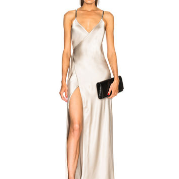 Michelle Mason Chain Wrap Gown in Platinum | FWRD