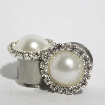"Diamond And Pearl Wedding Plugs 7/16"" 1/2"" 9/16"" 5/8"" 11mm 12mm 14mm 16mm"