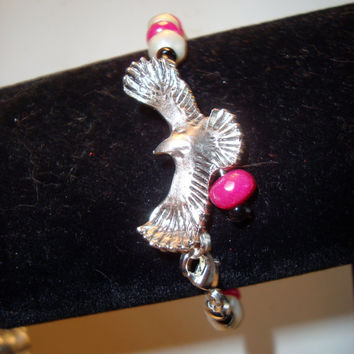 Eagle In Flight Bracelet with Pearls and Gemstones - Handmade - One of a Kind  -