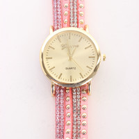 Pink Studded Rhinestone Decor Faux Suede Watch