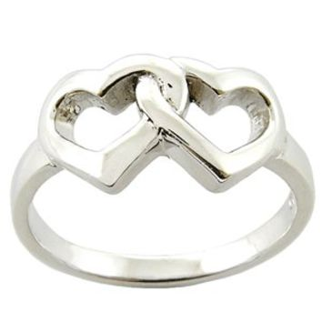 Two Hearts Link - 925 Sterling Silver Ring