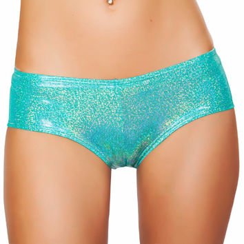 Teal Shimmer Booty Shorts