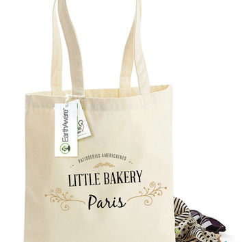 Little American Bakery in Paris Tote Bag -  Bag for Life - 100% Organic Cotton Canvas Tote Shopping Bag