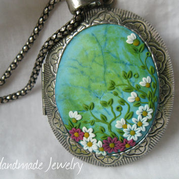 Ocean Flowers Gently Medallion for Cherishing Memories by Lena Handmade Jewelry Pesonalized Necklace