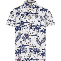River Island Boys white Hawaiian print short sleeve shirt
