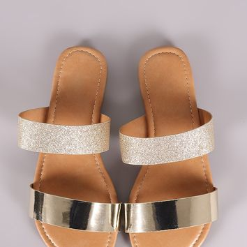 Glitter Me Open Toe Double Band Slide Flat Sandal