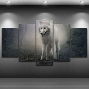 Modern Wall Art Poster Canvas HD Printed Painting 5 Panel Forest Animal Wolf Snow Fox Pictures Home Decor For Living Room PENGDA