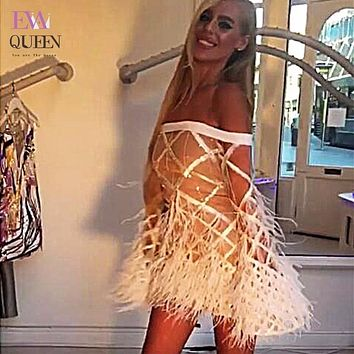 Tobinoone New Fashion Grid Packet Hip Dress Feathers Perspective Sexy Backless Deep Off Shoulder Party Bandage Dress