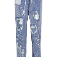 Ashish - Sequined distressed high-rise boyfriend jeans