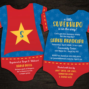 10 Superhero Baby Shower Invitations, Superhero cape -- Onesuit Die Cut shaped -- Double sided in any colors