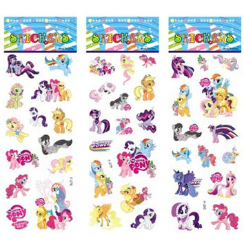 6 sheets/set My Pony stickers for kids Home wall decor on laptop cartoon Pony mini 3D sticker decal fridge skateboard doodle