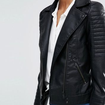 Noisy May Tall Leather Look Biker Jacket