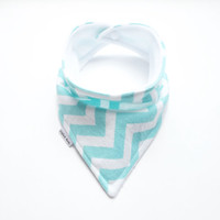 Baby Bandana Bib Scarf in Aqua Chevron Flannel with Snap Closure for Boy or Girl