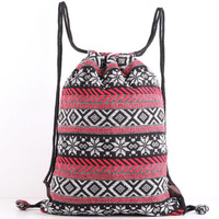 Floral Drawstring Backpack Tribal Snow flex Cinch bag Cloth Bag Toy Storage, Kids Book Bag
