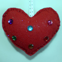 Holiday Heart Ornaments - Set of four