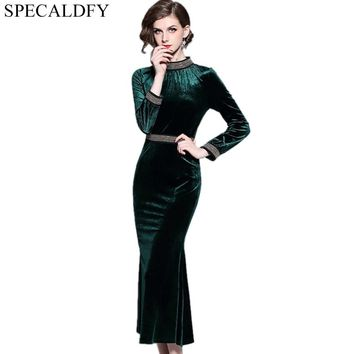 2018 Spring Winter Dresses Women Long Sleeve Vintage Velvet Dress Runway Sexy Evening Party Dresses Bodycon Robe Femme Vestidos