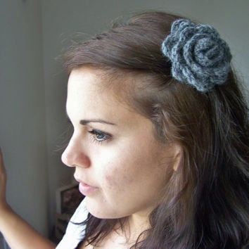 Crochet Flower Hair Clip Grey Hair by SoLaynaInspirations on Etsy