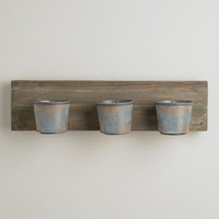 Rectangular 3-Tin Wood Planter - World Market