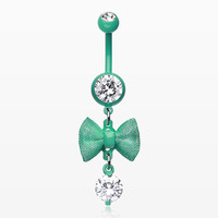 Mint Dainty Bow-Tie Belly Button Ring
