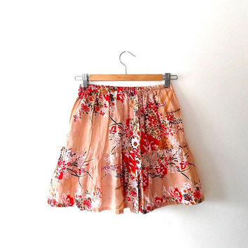 Cherry blossom mini skirt / pink / red / floral / cotton / vintage / reworked / elasticated / short / pleated / flared / ruffle summer skirt