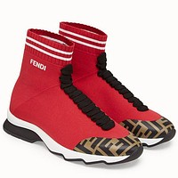FENDI men and women Socks boots red