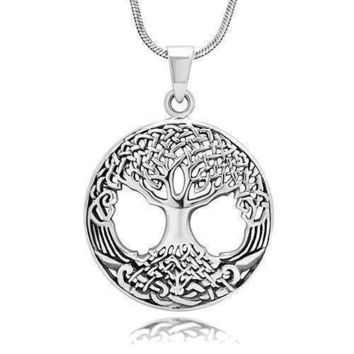 925 Sterling Silver Ornate Celtic Knots Family Tree of Life Round Charm Pendant