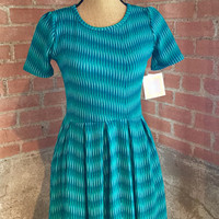 LuLaRoe Amelia Dress, Teal Geometric stripe
