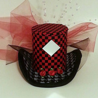 Fascinator, Mini Top Hat, Mad Hatter Hat, Red and Black Hat, Gothic, Children's Hat, Woman's Hat