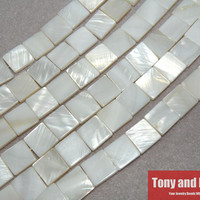 "15"" Strand Free Shipping 12x12x3mm Natural Mother of Pearl Shell Square Loose Beads Approx 39CM Per Strand No.SB4"