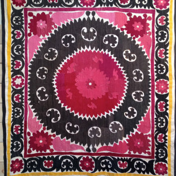 Vintage pink and black Uzbek Suzani