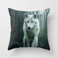 Wolf Throw Pillow by Julie Hoddinott