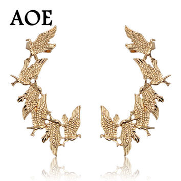 New Design 2016 Fashion Vintage Punk Animal Eagle Clip Earrings For Women 18k Gold Pated Ear Cuff Earrings Jewelry Gift