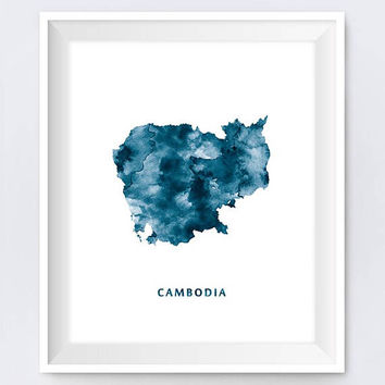 Cambodia, Map Print, Cambodia Art, Phnom Penh, Cambodia Poster, Watercolor, Painting, Travel, Home Decor, Download, Gift