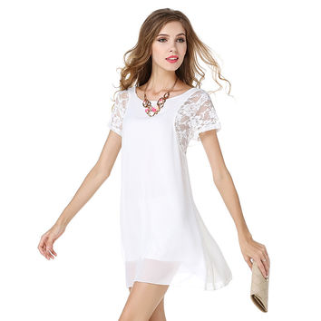 047805c7bd9 Low price fashion women summer dresses lace short sleeve o-neck pure color vestidos  Western