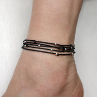 Sterling Silver Long String Beads Bracelet / Beads Anklet (many colors to choose)