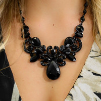 Montreal Black Beaded Necklace & Earring Set