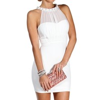 Ivory Embellished Neck Short Dress