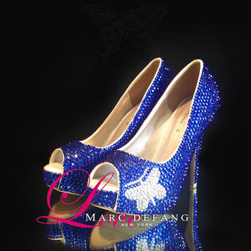 Signature Butterfly, Sapphire Crystals Luxury Peep Toe Heels