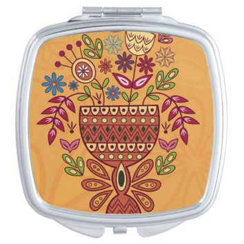 Pretty Brown Flowers Vase Square Compact Mirror