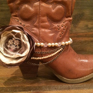 Boot Bling, Cowgirl Up, Boot Jewelry With Satin Flower and Rhinestones, Shades of Mocha and Cream, Perfect for Weddings & Special Occasions