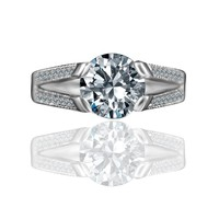 3 CT. (9mm) Tension Style Intensely Radiant Round Diamond Veneer Vintage Miligree Design Engagement Set in Sterling Silver Ring. 635R13624