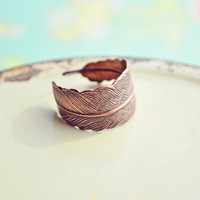 Feather Copper Ring
