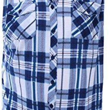 Ladies Code Womens Plus Size Sleeveless Plaid Button Down Shirt with Lace Detail Back