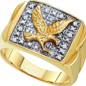 Mens Eagle Diamond Ring in 10k Gold 0.1 ctw
