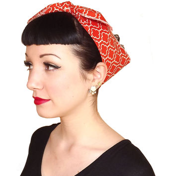 Orange Retro Circle Head Wrap Scarf