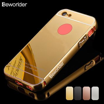 Beworlder For Apple iPhone 5C Case iPhone5C Gold Color Metal Frame Mirror Back Plate Case New Brand Phone Cover For iPhone 5C